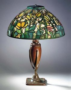 "Tiffany Studios, New York, Favrile Leaded Glass and Patinated Bronze ""Tulip""…"