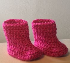 A personal favorite from my Etsy shop https://www.etsy.com/listing/224536347/hot-pink-baby-boots-with-foldover-cuffs