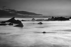 seascape,sunset,beach,waves,fog,mist,water,mediterranean,colorful, horizontal, outdoors, nature, landscape, exterior, europe, photography, fine art, sunset, black and white,monocronme,sea
