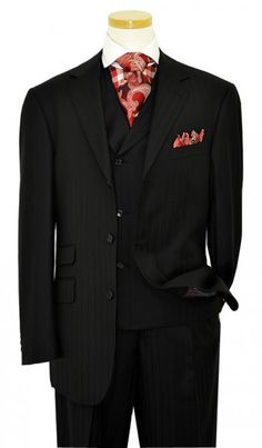 Extrema Black With Black Shadow Pinstripes 140's Wool Vested Suit HA00257