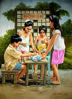 Playing Doctor Painting by Jose Vistan Human Figure Sketches, Figure Sketching, Friendship Photography, Filipino Art, Composition Painting, Village Photography, Art Village, Girl Background, Art Drawings For Kids