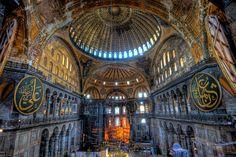 "Hagia Sophia, Ayasofya Meydanı, Sultanahmet Fatih, Turkey. ""The Hagia Sophia is a museum with glittering mosaics of biblical scenes in a vast, domed former Byzantine Greek Orthodox patriarchal basilica (church) and imperial mosque."""