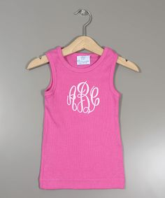 Look at this Raspberry Monogram Tank - Infant, Toddler & Girls on #zulily today!