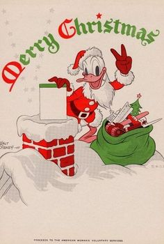 Christmas 1944 -- Donald Duck as Santa in a wartime card issued by Disney Studios. Vintage Christmas Images, Retro Christmas, Vintage Holiday, Christmas Pictures, Christmas Art, Christmas Greetings, Xmas, Disney Christmas Cards, Christmas Cartoons