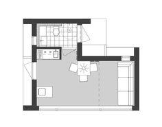 Ritning Attefallshus i vinkel Cabin Plans, House Plans, Backyard Guest Houses, Compact Living, Tiny House, Floor Plans, Loft, Small Homes, How To Plan
