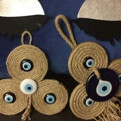 This Pin was discovered by DİL Rope Crafts, Fun Crafts, Diy And Crafts, Arts And Crafts, Diy Gift Box Template, Cowboy Christmas, Evil Eye Pendant, Winter Crafts For Kids, Wood Ornaments