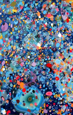 Buy Burbuliatorius Purgatorius, a Acrylic on Canvas by FERNANDO JARAMILLO from Colombia. It portrays: Fantasy, relevant to: colored dots, purple and blue stones, circular lines, ovule, blues, bubbles, heads Circular shapes, bubbles, human heads and color dots floating in space. My work explores the depths of life from its most basic manifestations. It is a journey through the microscopic worlds of primitive matter.  Fernando Jaramillo (b. 1966) is a Bogota based artist best known for his…