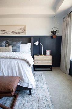 modern farmhouse bedroom design with navy board and batten on walls, farmhouse bedding and nightstand decor, farmhouse bedroom decor Farmhouse Style Bedding, Modern Farmhouse Bedroom, Modern Bedroom Design, Farmhouse Style Kitchen, Contemporary Bedroom, Farmhouse Decor, Bedroom Designs, Bedroom Rustic, Industrial Bedroom