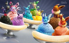 Eeveelution banana splits! I tried pairing them up with ice cream that matched their designs: Umbreon = Toasted Sesame, Sylveon = Strawberry Swirl Espeon = Ube, Glaceon = Blue Moon, Leafeon = Green ...