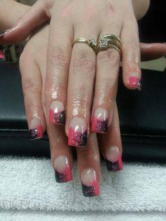 Pink and black gel polish
