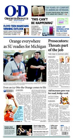 The front page for Saturday, April 6, 2013: Orange everywhere as SU readies for Michigan