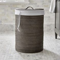 Sedona Grey Hamper with LinerSet Savings $109.95 open stock $119.90 9 Reviews Add to RegistryQtyAdd to CartCrate and Barrel Exclusive Pin It               SKU: 686653   ShipIn stock and ready to ship  Pickup in StoreSelect Store Add to FavoritesPrint this PageEmail a link to this page to someone Overview Handwoven rattan, finished in warm grey, crafts a tall, roomy cylinder, lidded to keep laundry or used towels out of view. Washable cotton canvas liner has a drawstring closure and carrying…