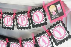 Happy Birthday Girls Slumber Party Sleepover Popcorn Banner - Animal Print Zebra and Hot Pink - Toppers, Favor Tags & Door Sign Available on Etsy, $28.00