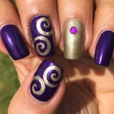 My Nail Files: Gold & Purple Swirls