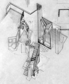 Casa providencia, Flores Prats. beautiful spatial exploration, pencil cut away drawing: