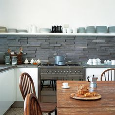 Kitchenwalls Backsplash Wallpaper Slate Tiles Beautiful Industrial And Contemporary Look In Your Kitchen