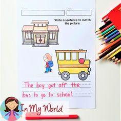 Kindergarten Writing, Kindergarten Activities, Name Writing, Writing Skills, Great Pictures, First Grade, Prompts, Sentences, Writers