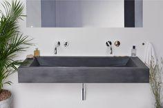 Concrete washbasin Gravelli Slant 05 Double in anthracite variant. Kinds Of Shapes, Concrete, Sink, Bathtub, Mirror, Bathroom, Furniture, Decoration, Home Decor