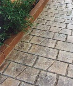 I like this stamped concrete for a sidewalk or patio. Stamped Concrete Designs, Stamped Concrete Walkway, Stained Concrete, Concrete Pathway, Cement Stain, Stencil Concrete, Paint Concrete, Brick Pathway, Concrete Patios