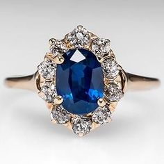 Wedding Rings Victorian Sapphire Engagement Ring w/ Diamond Halo 14K Gold 1900's