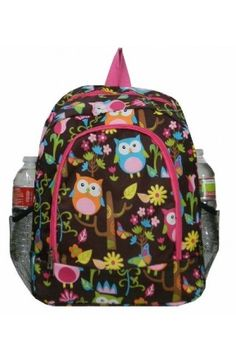 68b622bb27 Owl Brown and Pink Girls Backpack Peronalized by TheTurtleTrain