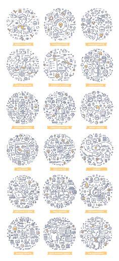 20 Startup Doodle Concepts Vector Illustration - EPS, AI Mobile Web Design, Vector Graphics, Doodles, Bullet Journal, Concept, Illustration, Illustrations, Donut Tower, Doodle Art