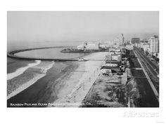 Long Beach, CA - Rainbow Pier & Ocean Blvd - Vintage Photograph Giclee Art Print, Gallery Framed, White Wood), Multi Long Beach Pike, Long Beach California, California History, Vintage California, Southern California, California Coast, Beach Art, Colour Images, Vintage Photographs