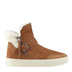 Monochrome cozy and warm fleece lined bootie with ankle strap and exposed zipper.
