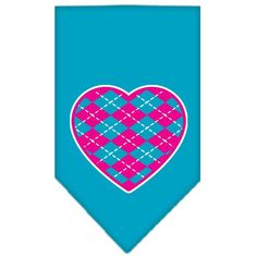 Argyle Heart Pink Screen Print Bandana Turquoise Small