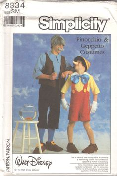 Simplicity 8334 1980s Mens Misses PINOCCHIO  GEPPETTO by mbchills