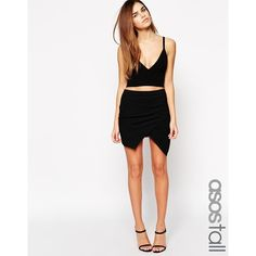 ASOS TALL Mini Skirt With Wrap Front (93 ILS) ❤ liked on Polyvore featuring skirts, mini skirts, black, wrap skirt, wrap front skirt, wrap mini skirt, high waisted mini skirt y high waisted skirts