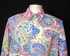 Robert Graham Paisley Flip Cuff Button Front Shirt Size Medium #RobertGraham #Paisley #FlipCuff #Psychedelic #Ebay #Retro Mens Printed Shirts, Robert Graham, Psychedelic, Paisley, Swag, Shirt Dress, Button, Retro, Medium