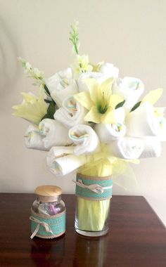 CUSTOM THEME BASED  Diaper Bouquet  floral by AlwaysADORNable