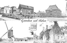 Asten,  Collage van 4 foto's waarop: (1) Huize St. Bartholomeus; (2) Gemeentehuis; (3) Molen; (4) Kasteelruïne. Jos Pé (fotograaf) 1950 - 1970