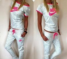 Light summer set off white and pink , short sleeves top and wedge Swag Outfits For Girls, Lazy Day Outfits, Cute Swag Outfits, Sporty Outfits, Mom Outfits, Nike Outfits, Fall Outfits, Fashion Outfits, Workout Outfits