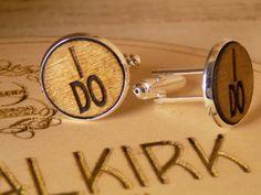 Wooden Wedding Cufflinks 'I DO' by SOHalkirk on Etsy