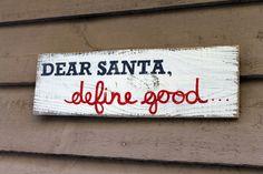Dear Santa Reclaimed Wood Sign by thesummeryumbrella on Etsy, $24.99