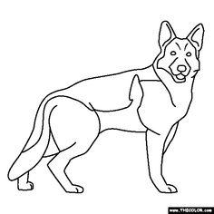 Free Lineart German Shepherd by =BlueHunter on