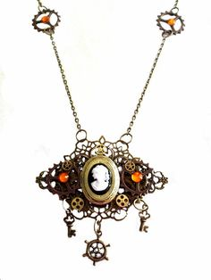 One of a Kind Steampunk Necklace, Victorian Lady Cameo Locket, Steampunk Jewelry, Brass Locket, Gears and Cogs, Keys, Ships Wheel, Orange