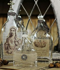 Altered Bottles...print images onto vellum