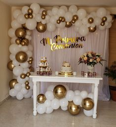 21st Birthday Themes, Birthday Decorations At Home, First Communion Decorations, Blue Party Decorations, Gold Birthday Party, Birthday Celebration, Birthday Parties, Birthday Backdrop, Birthday Balloons