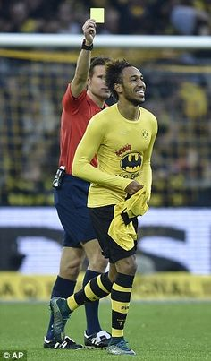 Aubameyang was booked for removing his shirt
