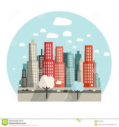 flat-design-city-vector-illustration-55252647.jpg (1300×1390)