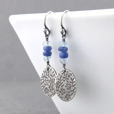 Gemstone Earrings Blue Earrings Silver Dangle by JenniferCasady