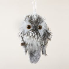 Furry Gray Owl Ornament