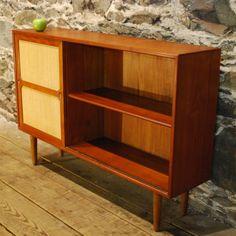 97229 Danish Mid Century Modern Teak Bookcase w/Sliding Door: Nice way to upcycle the existing bookcase