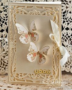 Beautiful butterflies and love the die cuts used on this card! ♥ Love ♥