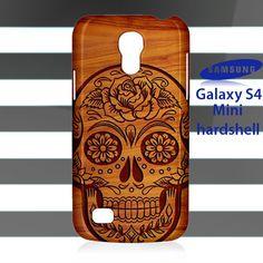 NEW Tribal Sugar Skull Flower on Wood Samsung Galaxy S4 Mini Case