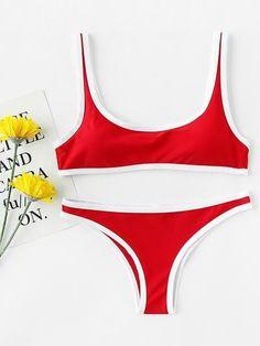SheIn offers Contrast Trim Scoop Neck Bikini Set & more to fit your fashionable needs. Cute Swimsuits, Cute Bikinis, One Piece Swimwear, Bikini Swimwear, Cute Bathing Suits, Red Bikini, Bikini Fashion, Dance Wear, Beachwear