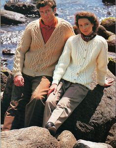 "vintage womens / mens aran cardigans unisex knitting pattern pdf ladies cable jackets v or round 30-48"" aran worsted 10ply Instant download by Hobohooks on Etsy"